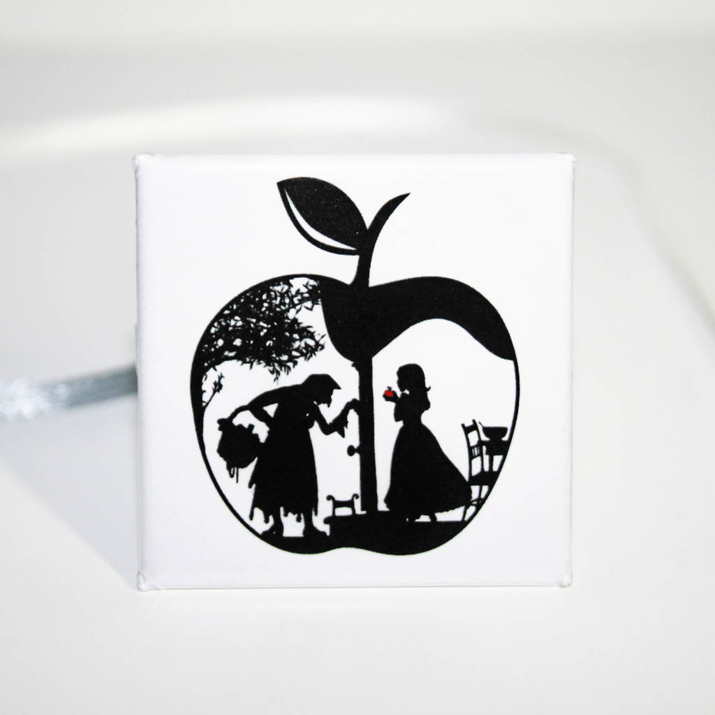 snow whites apple 38mm square badge by studio charley