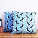Green and Blue Puffin Cushions