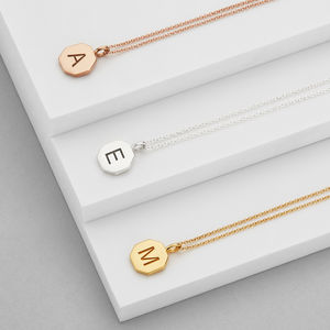 Personalised Engraved Hexagon Initial Pendant Necklace - for children