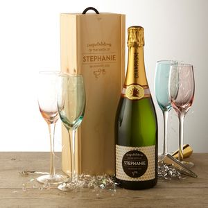 New Baby Personalised Champagne And Wooden Gift Box - personalised