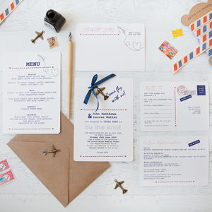 'Fly With Us' DIY Wedding Invitation Pack - order of service & programs