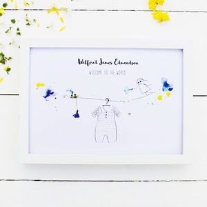 Personalised 'Welcome To The World' Baby Boy Print