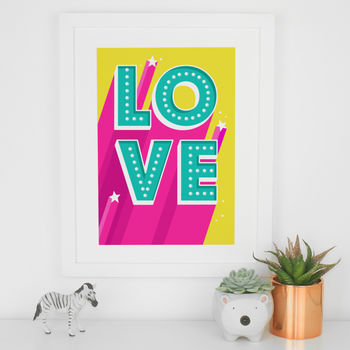 Love Light Up Sign Letters Typography Art Print