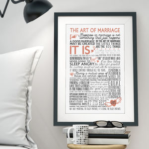 Personalised The Art Of Marriage Wedding Gift Print