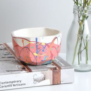 Handmade Colourful Round Porcelain Planter - living room