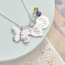 Personalised Silver Butterfly Charm Necklace - Peridot and Amethyst Birthstone