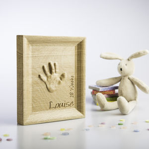 Personalised Baby Toddler Handprint In Oak - children's pictures & paintings