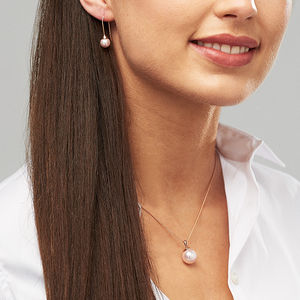 Rose Gold Pearl Necklace And Earring Set