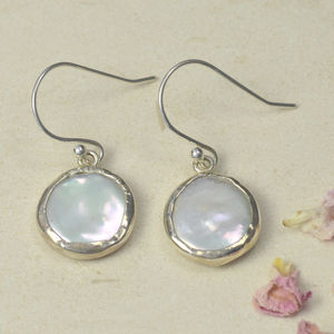 Coin Pearl In Silver Surround Earrings - earrings