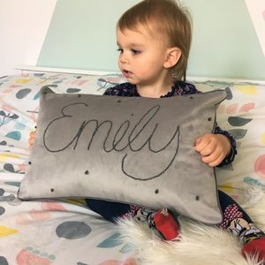 Personalised Name Velvet Cushion - whatsnew