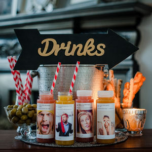 Party Cocktails With Personalised Social Media Labels