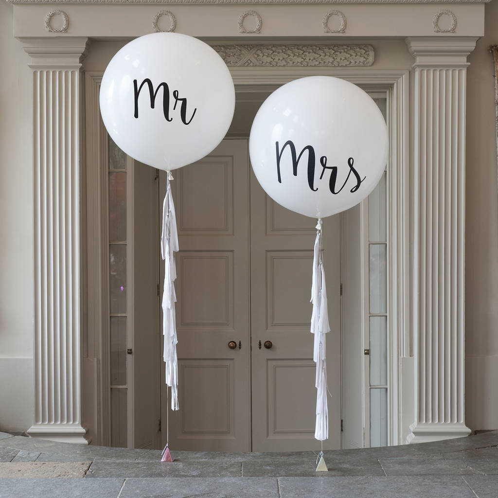 Mr & Mrs Balloons [object object] printing personalised balloons original mr and mrs happily ever after giant balloon trio