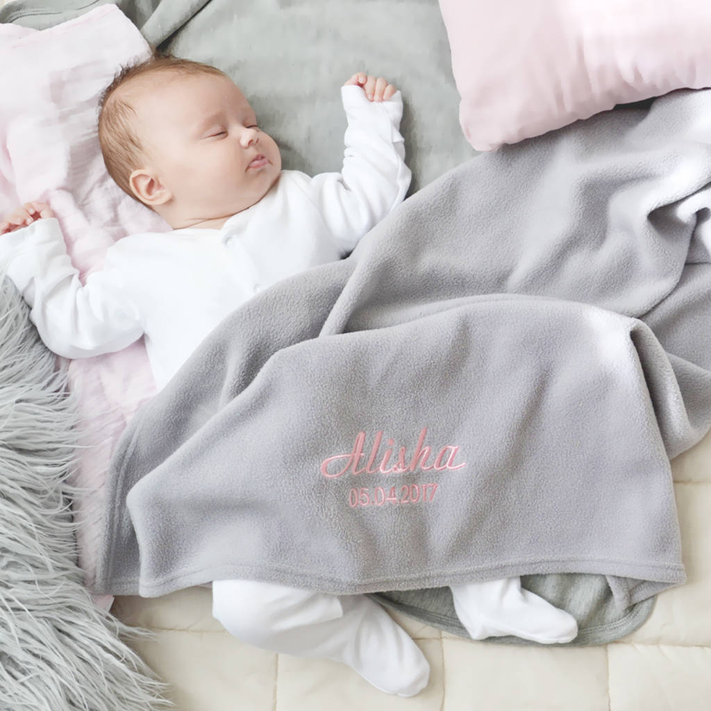Personalised grey fleece baby blanket