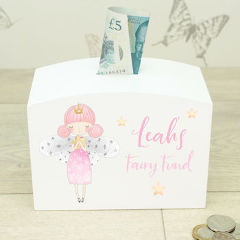 Personalised White Wooden Girls Fairy Money Box