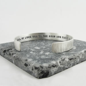 Mens Personalised Textured Silver Bracelet