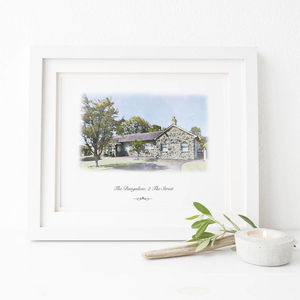 Personalised House Portrait Digital Watercolour - posters & prints