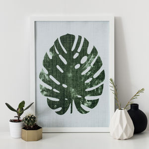 Monstera Palm Textured Print