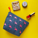 Embroidered Flamingo Denim Make Up Bag