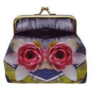 Silk Evening Purse In Blue And Pink Lily Print