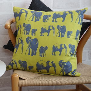Elephant Family Cushion - bedroom