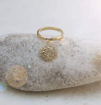 Moon Mandala Charm Ring