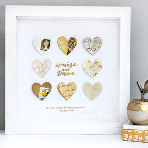 Personalised Golden Anniversary Paper Hearts Art