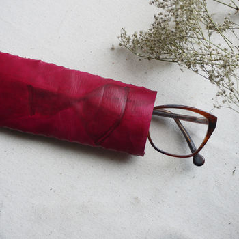 Leather Glasses Case, Hand Tie Dyed