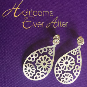 Filigree Mother Of Pearl And Cz Drop Earrings