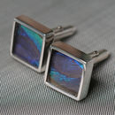Peacock Feather Sterling Silver Cufflinks