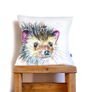 Inky Hedgehog Cushion - bedroom