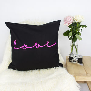 'Love' Neon Sign Cushion