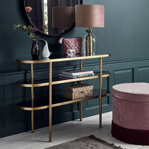 Golden Oval Console Table With Black Glass - cocktail club