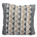 Beige And Grey Chevron Leather Cushion