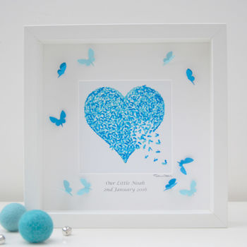 Baby Boy Butterfly Heart Wall Art Framed Print