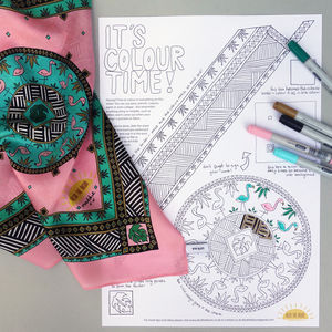 Flamingo Print Silk Scarf Colouring Kit