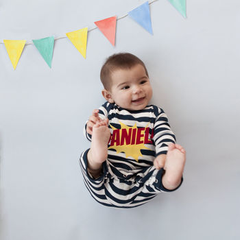 Personalised Ethically Produced Striped Kapow Baby Grow