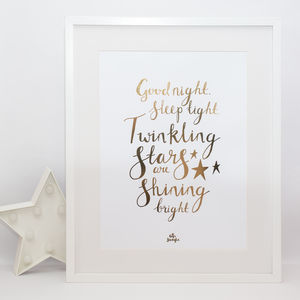 'Good Night Sleep Tight' Gold Foil Typography Print