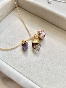 Mixed Raw Cut Family Birthstone Necklace