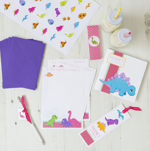 Personalised Girly Dinosaur Stationery Bundle