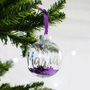 Personalised Purple Glitter Christmas Bauble