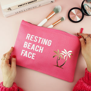 Resting Beach Face Slogan Make Up Bag - make-up bags