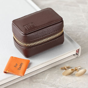 Personalised Luxury Leather Travel Cufflink Box - for him