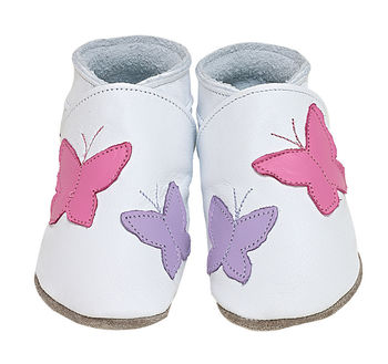 Girls soft leather baby shoes flutterbye in white with pink and lilac butterflies