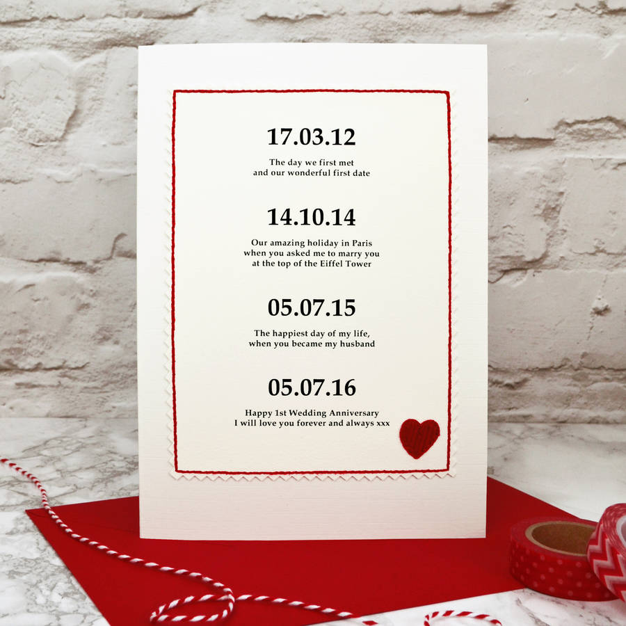 12 Months Of Dates Wedding Gift: Special Dates Personalised Anniversary Card By Jenny