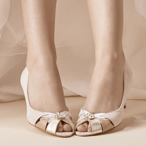 Evelyn Blush Ivory Peep Toe Wedding Shoes - bridal shoes