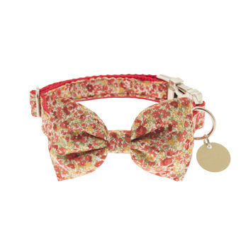 Vintage Red Floral Bow Tie Dog Collar