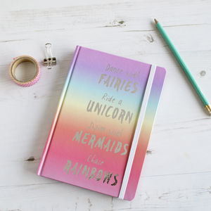 Personalised Rainbow Unicorn Notebook - best gifts for girls