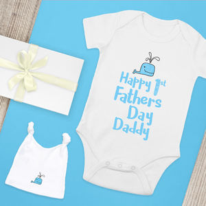 First Fathers Day Handprinted Organic Cotton Babygrow