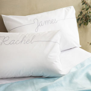 Personalised Couples Script Embroidered Pillowcase Set - personalised wedding gifts