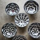 Set Of Six Black And White Chequered Bowls